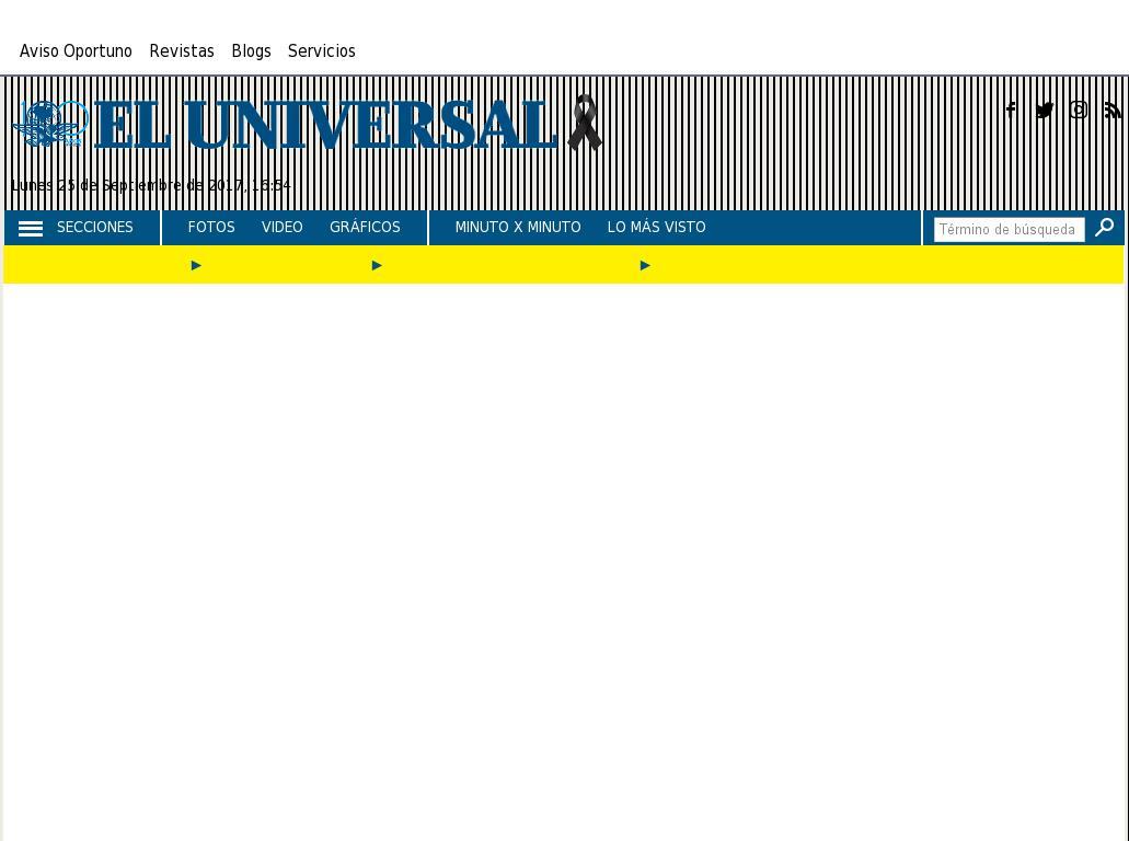 El Universal at Monday Sept. 25, 2017, 9:56 p.m. UTC