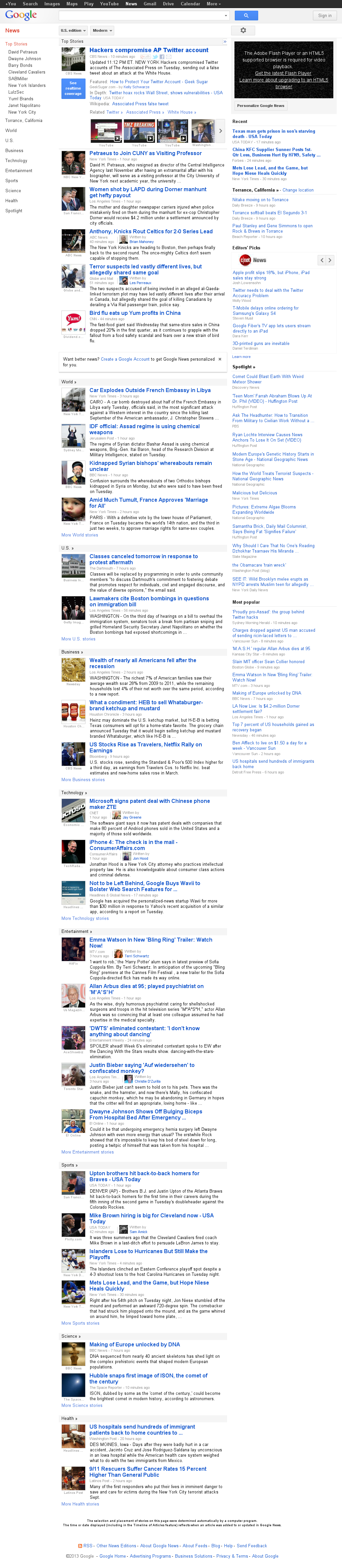Google News at Wednesday April 24, 2013, 4:08 a.m. UTC