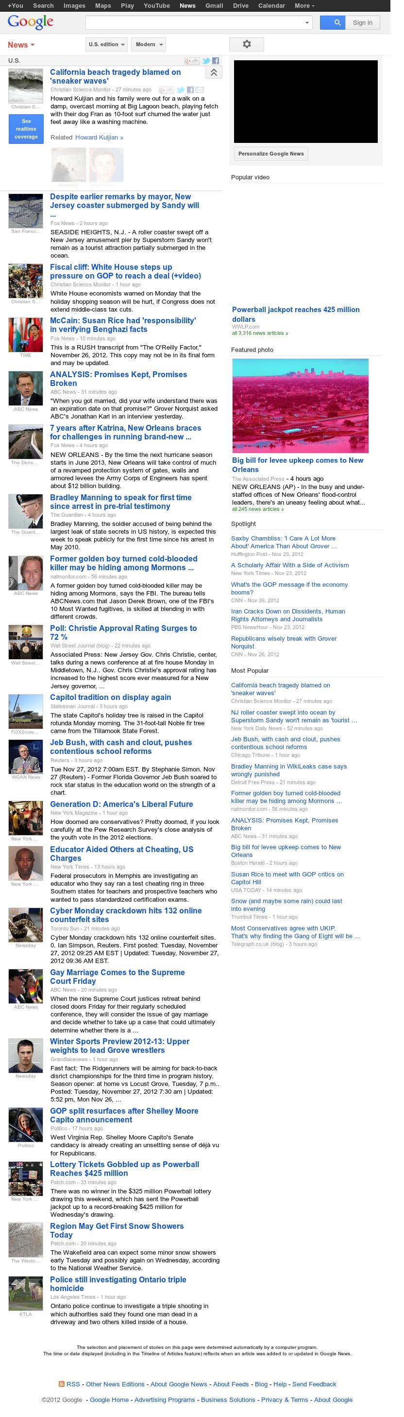 Google News: U.S. at Tuesday Nov. 27, 2012, 3:10 p.m. UTC