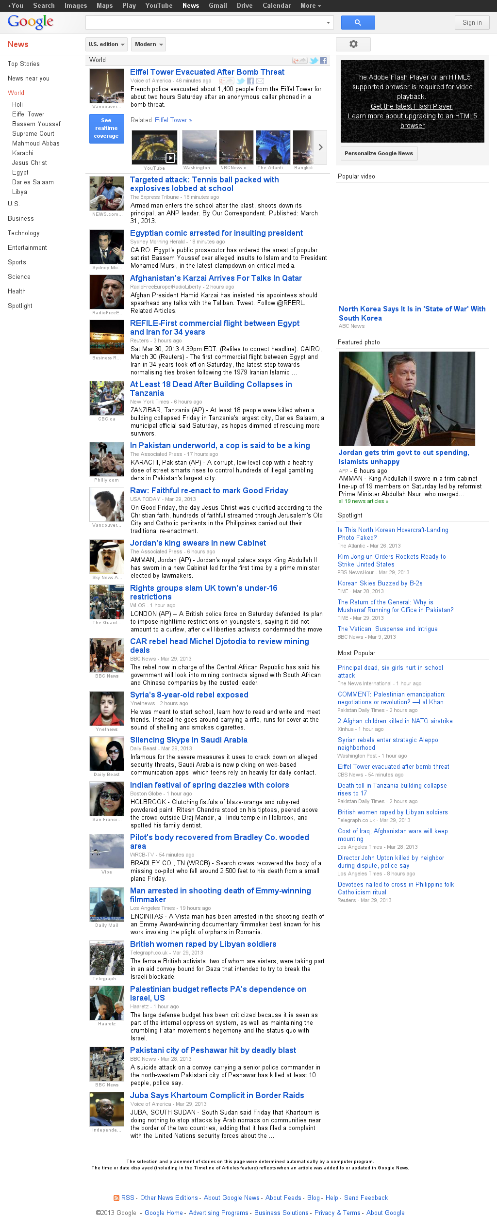 Google News: World at Sunday March 31, 2013, 12:08 a.m. UTC