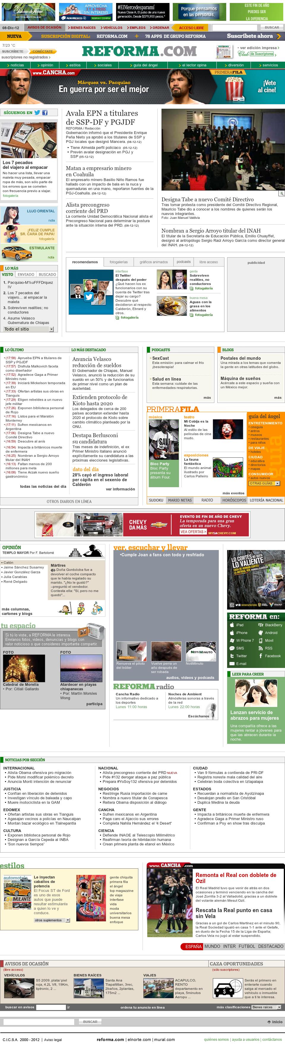 Reforma.com at Sunday Dec. 9, 2012, 1:12 a.m. UTC
