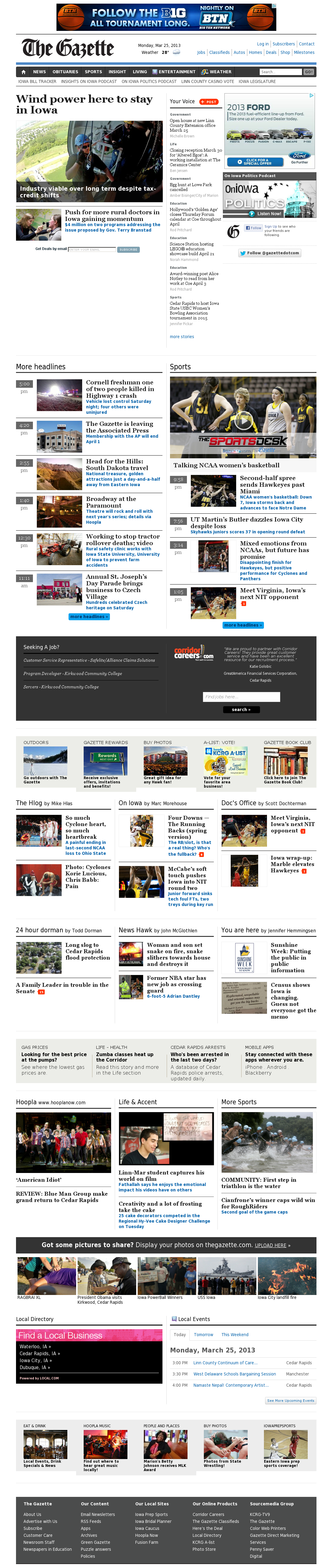 The (Cedar Rapids) Gazette at Monday March 25, 2013, 7:12 a.m. UTC