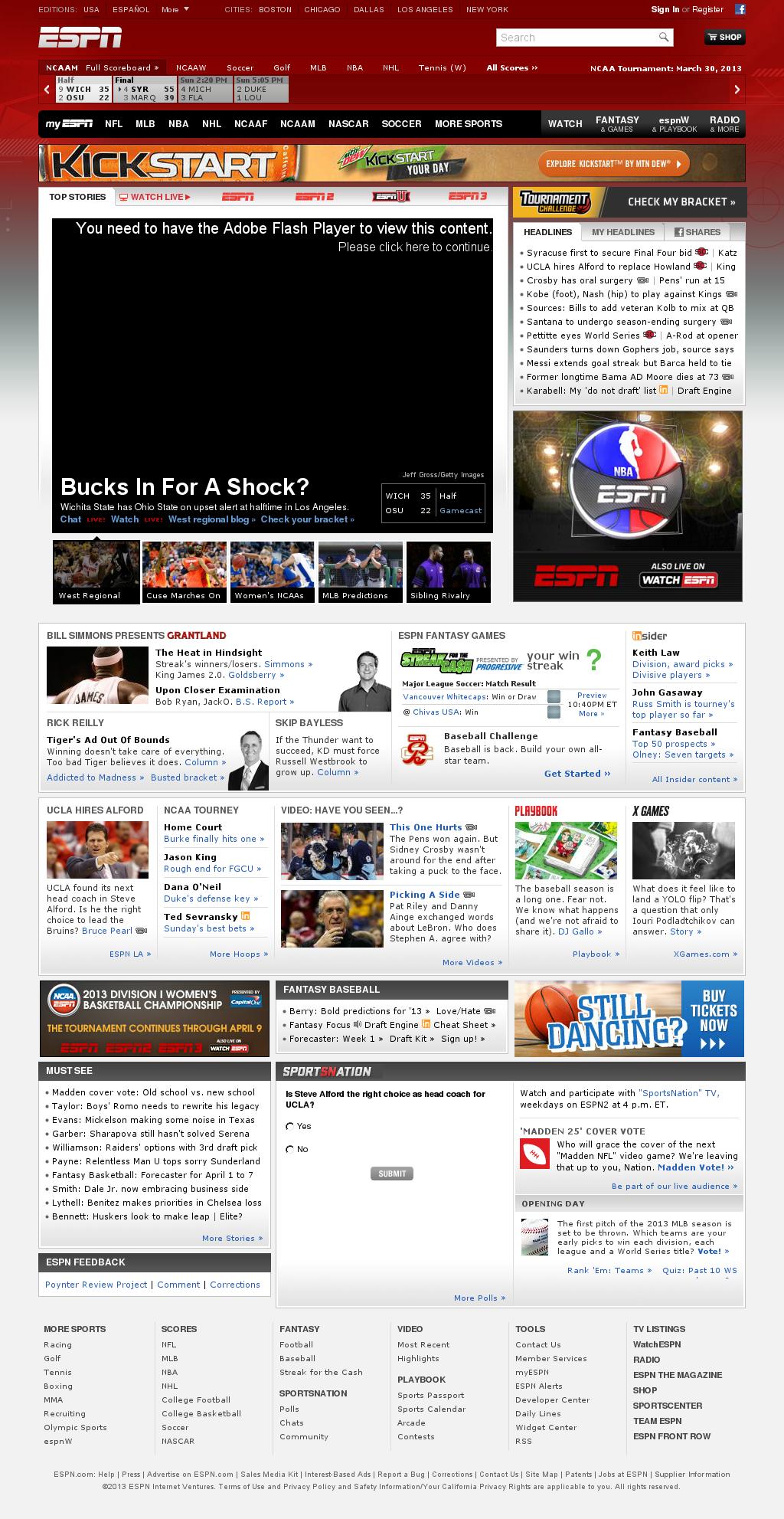ESPN at Sunday March 31, 2013, 12:05 a.m. UTC