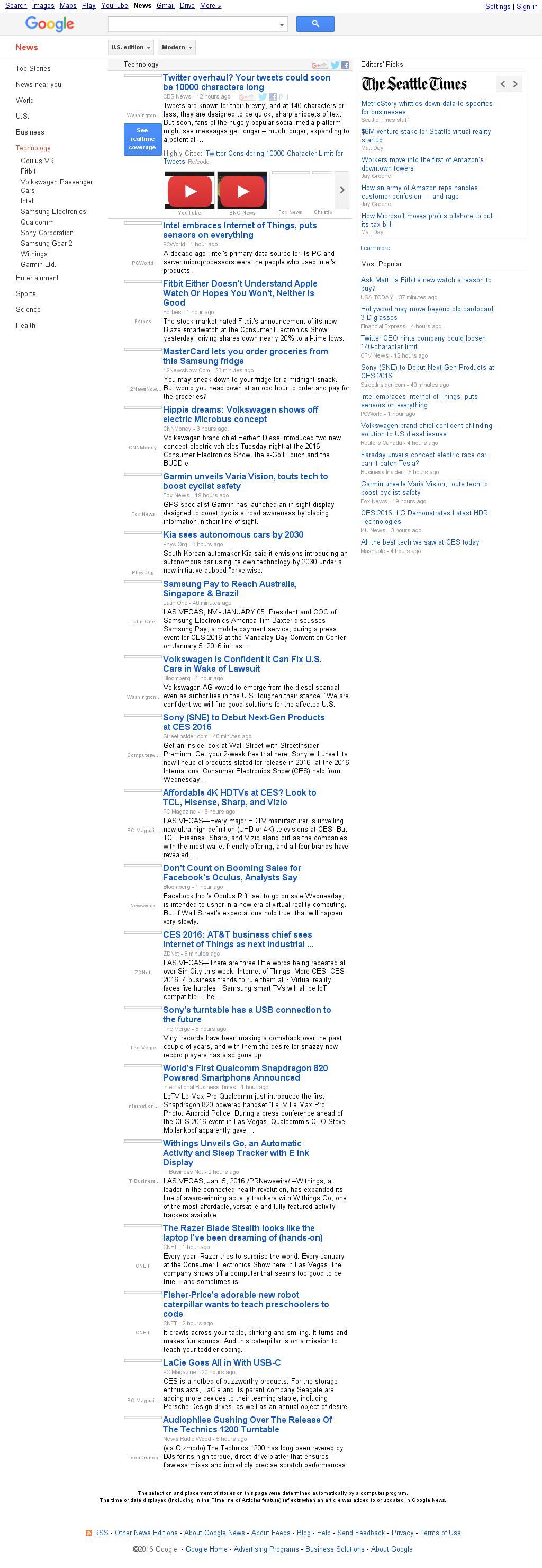 Google News: Technology at Wednesday Jan. 6, 2016, 12:09 p.m. UTC