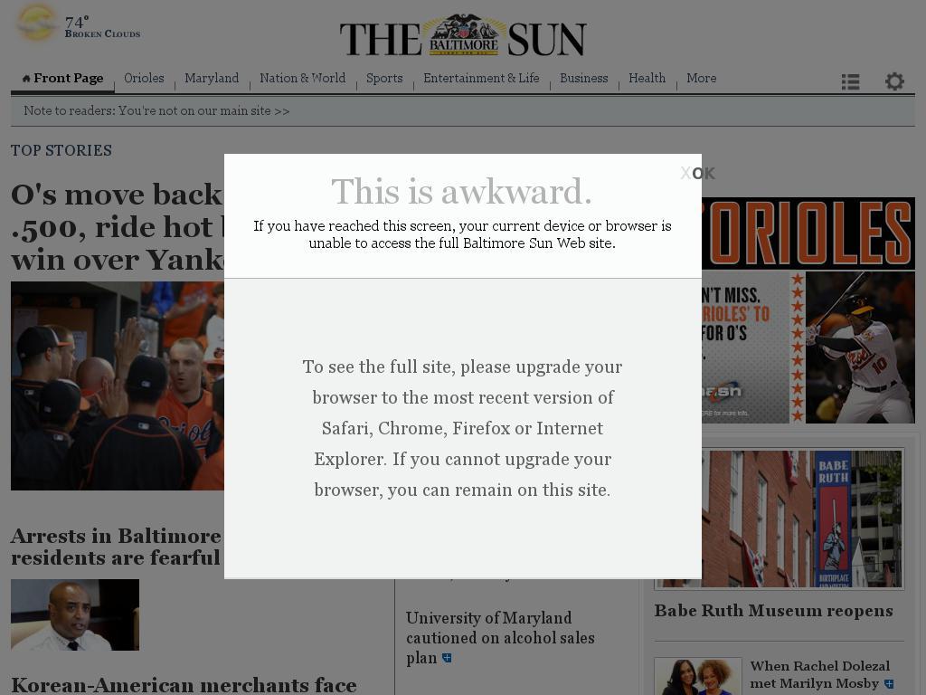 The Baltimore Sun at Sunday June 14, 2015, 10 a.m. UTC
