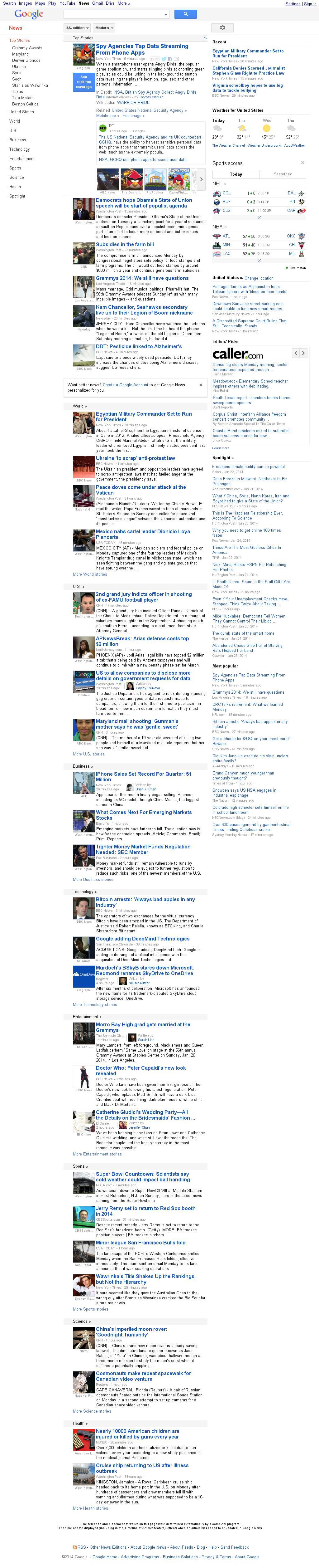 Google News at Tuesday Jan. 28, 2014, 2:07 a.m. UTC