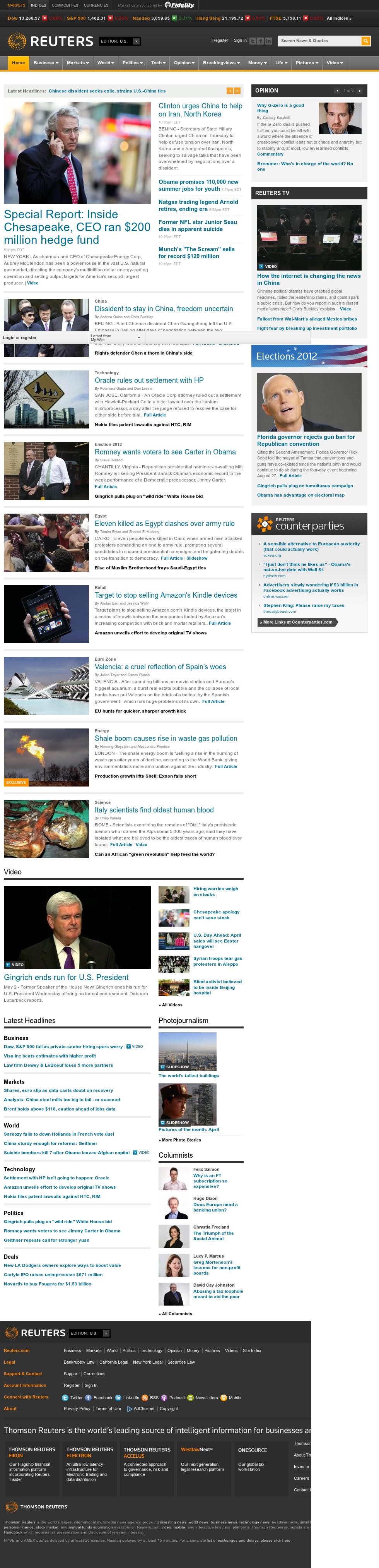 Reuters at Thursday May 3, 2012, 3:10 a.m. UTC