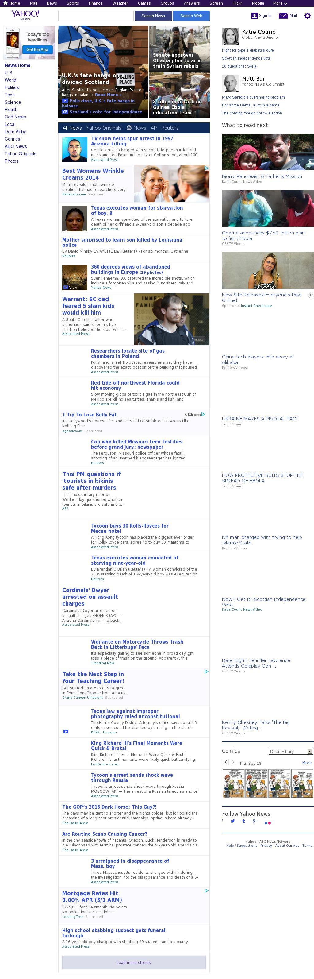Yahoo! News at Thursday Sept. 18, 2014, 11:23 p.m. UTC