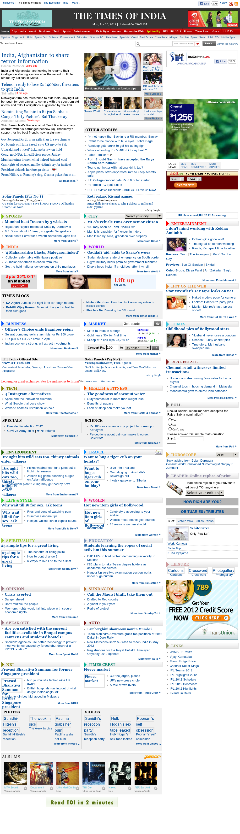 The Times of India at Sunday April 29, 2012, 11:32 p.m. UTC