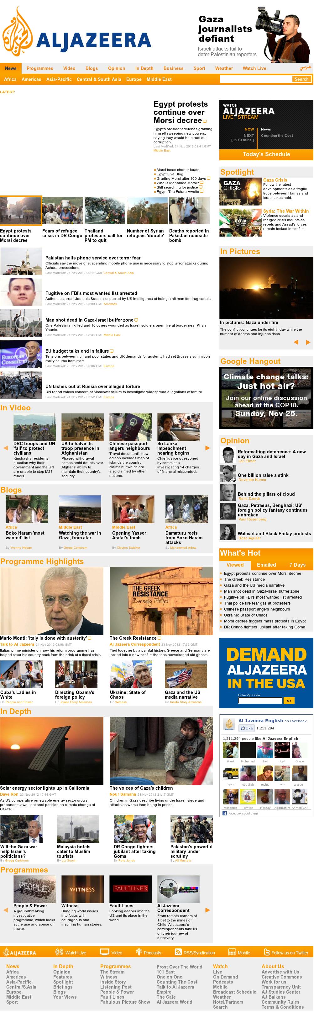 Al Jazeera (English) at Saturday Nov. 24, 2012, 9:16 a.m. UTC