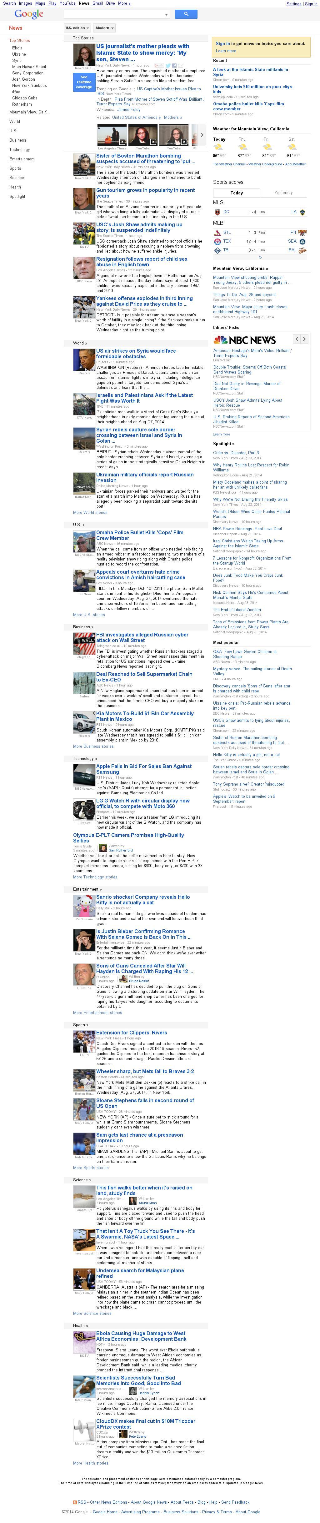 Google News at Thursday Aug. 28, 2014, 6:07 a.m. UTC