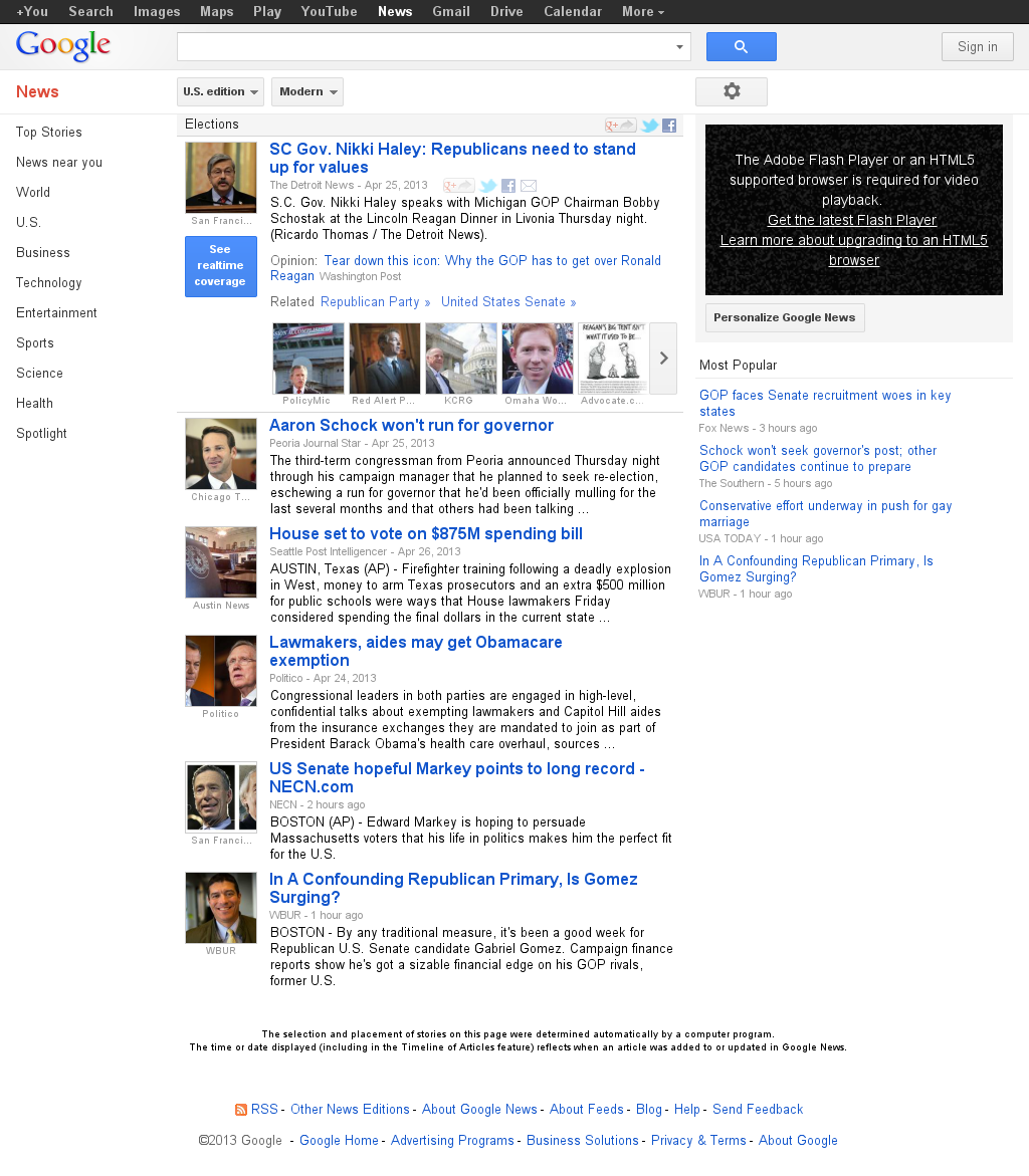 Google News: Elections at Saturday April 27, 2013, 5:08 p.m. UTC